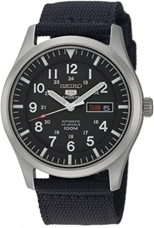 SEIKO Men's SNZG15 Automatic Stainless Steel Watch with Nylon Strap